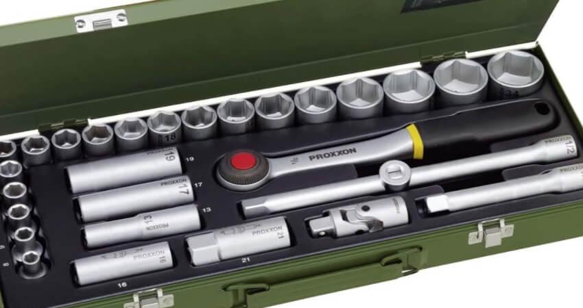 """PROXXON Steckschlüsselsatz, Für die kraftvolle Mechanik mit 1/2""""-Umschaltratsche, 29-teiliges Werkzeug-Set mit Stahlkasten, 23000"""