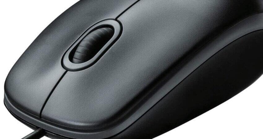 Logitech M100 Maus mit Kabel, 1000 DPI Optischer Sensor, USB-Anschluss, 3 Tasten, Für Links- und Rechtshänder, PC/Mac - grau