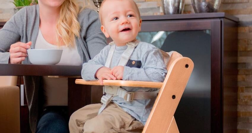 Hauck Alpha Hochstuhl Holz Kinderhochstuhl ab 6 Monaten, mitwachsend, höhenverstellbar, bis 90 kg belastbar, in Kombination mit Alpha Bouncer ab Geburt nutzbar, 1 teilig, natur
